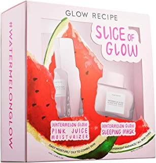 Glow Recipe Slice Of Glow Set! Watermelon Glow Sleeping Mask And Watermelon Glow Pink Juice Moisturizer! Formulated with Watermelon Extract, Hyaluronic Acid And Antioxidants! Vegan And Cruelty Free!