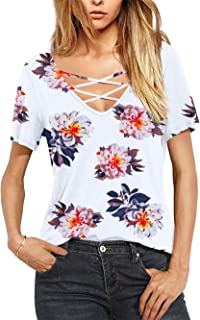 Amoretu Women Casual Short Sleeve Criss Cross V-Neck Summer T-Shirt Blouse Tops
