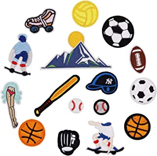 16pcs Ball Sports Equipment Iron on Patches Embroidered Motif Applique Decoration Sew On Patches Custom Patches for DIY Jeans, Jacket,Kid's Clothing, Bag, Caps, Arts Craft Sew Making (Sports 16pcs)