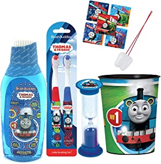 Thomas The Train Inspired 4pc Bright Smile Oral Hygiene Bundle! Thomas & Friends Toothbrush, Mouthwash, Brushing Timer & Rinse Cup! Plus Gift & Tooth Necklace!