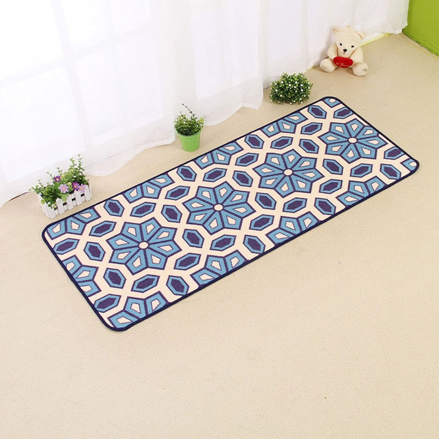 SUN-Shine Durable Home and Kitchen Rug Runners with Non-Slip Rubber Backing Indoor Doormats Floor Mat Carpet, Modern Geometric Floral
