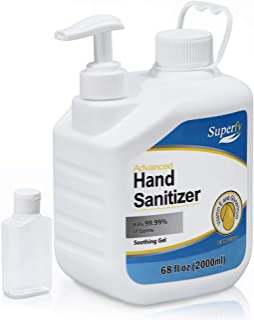 Superfy hand sanitizer Gel 0.5 Gallon refill with Pump, Big Bulk 70% Alcohol based Hand Washer 68fl oz, W/refill bottle