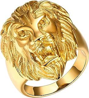 Yodensity, anello da uomo, a fascia, con testa di leone. Anello in acciaio inox, color oro