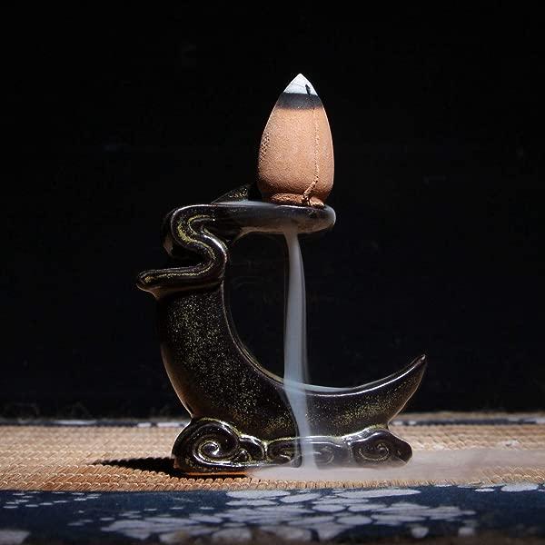 ChezMax Mini Ceramic Incense Holder Backflow Incense Burner Holder Home Decoration Tabletop Ornamental Moon Shaped