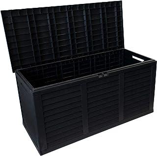 Coffre de rangement en plastique pour le jardin avec rouleau coffre de jardin 380 L 120x60x52cm anthracite pour les coussi...