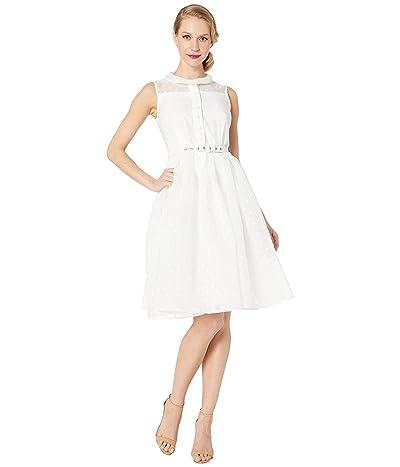 Unique Vintage White Dotted Georgia Swing Dress (White) Women