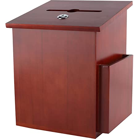 Rich Mahogany Wood Charity Donation & Suggestion Box Office Ballot Box with Pocket Comes with Locking Hinged Lid for Table Or Counter-top use (Dark Mahogany)