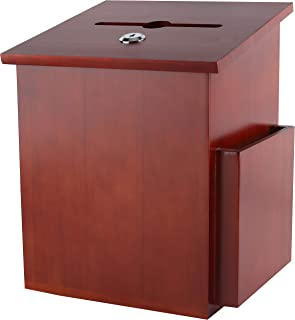 Rich Mahogany Wood Charity Donation & Suggestion Box Office Ballot Box with Pocket Comes with Locking Hinged Lid for Table...