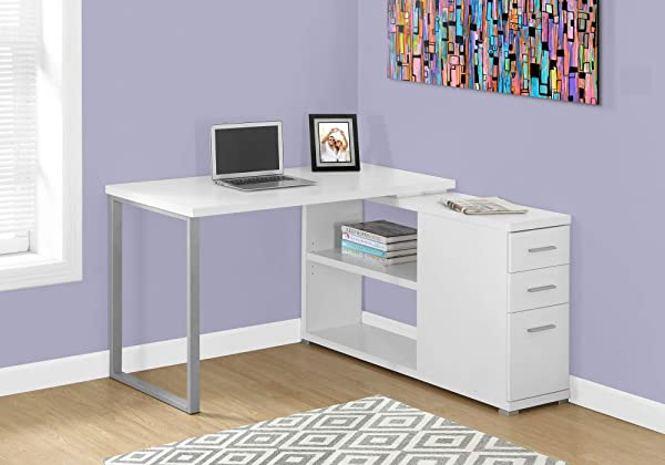 Monarch Specialties I 7133 Computer L Shaped Left Or Right Set Up Contemporary Style Corner Desk With Open Shelves And Drawers 48 L White