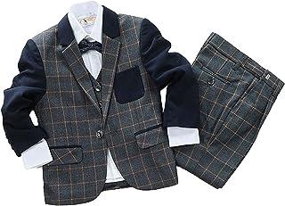 C-Princess子供服 チェック柄 フォーマル スーツ ジャケット ズボン ベスト セットアップ 男の子 キッズ 長袖 春秋 入学式 結婚式 発表会に