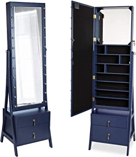 Beautify Lockable Floor Standing Make Up and Jewelry Cabinet Organizer Armoire Storage with 2 Drawer, Inside Mirror & LED Warm Lights (Navy Illuminated)