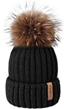womens black hat with fur pom pom