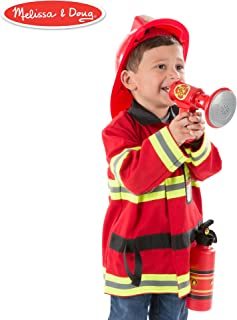 Melissa & Doug Fire Chief Role Play Costume Set (Pretend Play, Bright Red, 6 Pieces, 17.5