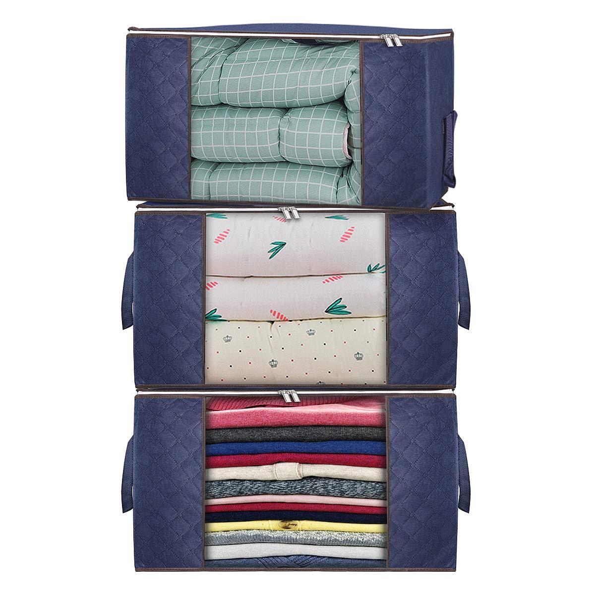 YouJiaBest Foldable Organizer Blankets Closets%EF%BC%88Blue%EF%BC%89