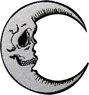 Luna Patch Grinning Skull Face Embroidered Moon Applique Iron On Sew On Emblem