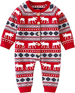 Newborn Baby Romper Christmas Jumpsuit Knitted Baby Clothes Reindeer Outfit