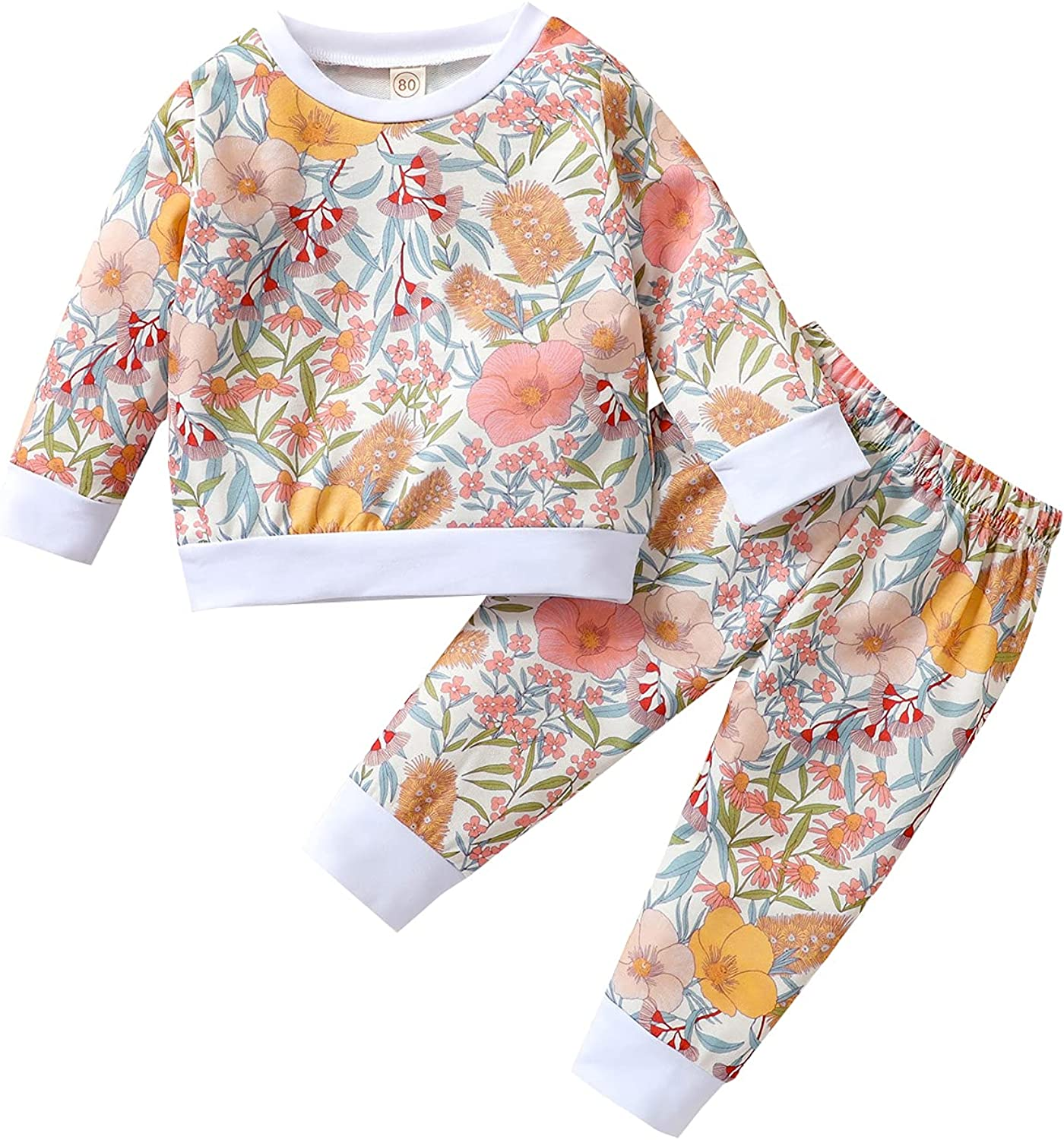 Winter Toddler Baby Girl Outfits Floral Tops and Pants Cute Clothes Set