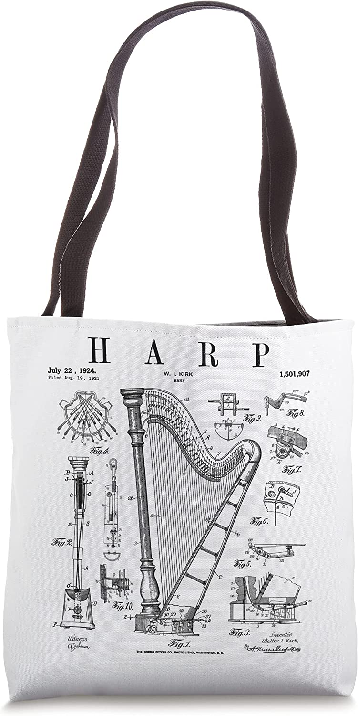 Harp Vintage Patent Harpist Drawing Print Tote Bag