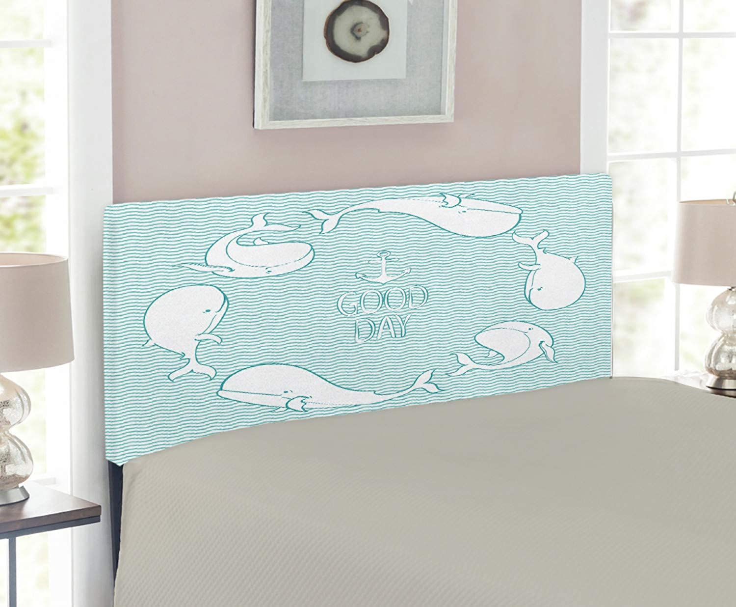 Lunarable Anchor Headboard for Twin Size Bed, Anchor and Good Day Text in Frame of Whales Different Poses Wavy Water Surface, Upholstered Decorative Metal Headboard with Memory Foam, Mint Green White