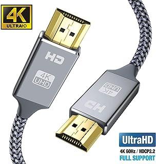 4K Cable HDMI 2 metros 2.0 Cable HDMI Ultra HD soporta 4K Ultra HD 3D 2160P 1080P Ethernet conectores chapados en oro trenzado de nylon para PS4 XBOX TV computadora y monitor