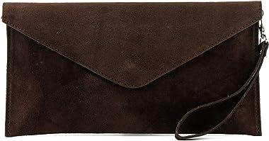 modamoda de - T106 - Bolso de mano de ante italiano., color Marrón, talla Small