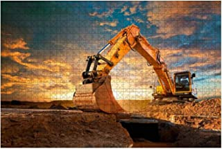 Jigsaw Puzzle 1000 Pieces Excavator at a construction site against the setting sun Adults Leisure Children Education Creat...