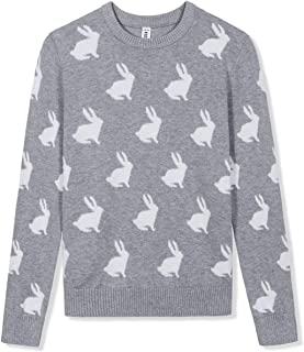 Kid Nation Girls' Sweater Long Sleeve Round Neck Cotton Pullover with Love Easter Rabbit