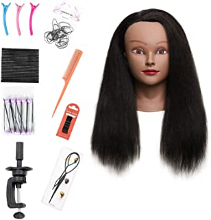 """Armmu Mannequin Head with 100% Real Hair, 16"""" Hairdresser Cosmetology Mannequin Manikin Training Practice Doll Head for Hairstyling and Free Clamp Holder- Black"""