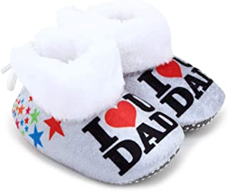 Superminis Baby Girls and Baby Boys Ankle Length with Heart Print Soft Base Booties/Shoes