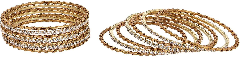 Efulgenz Indian Bollywood Boho Vintage Antique Gypsy Gold Plated Crystal CZ Silk Thread Metal Bracelet Bangle Set