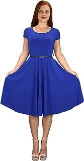 Womens Vintage 1950 Look Fashion Waist Belt Fit Flare Swing Dress Frock Dresses