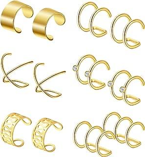 6 Pairs Stainless Steel Ear Clips Non Piercing Earrings Hoop Ear Cuffs Cartilage Ear Clips Set for Men Women, 6 Various Styles