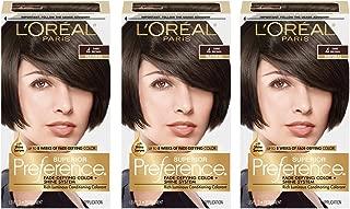 L'Oréal Paris Superior Preference Fade-Defying + Shine Permanent Hair Color, 4 Dark Brown, 3 COUNT Hair Dye