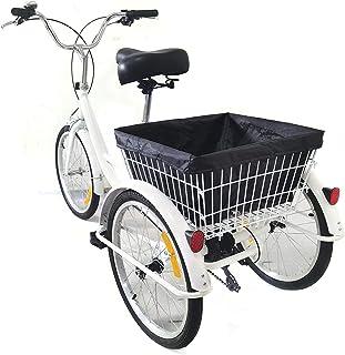 """Tricycle pour adultes - 3 roues - Avec panier de courses - Pour adultes et personnes âgées (8 vitesses, 20"""")"""