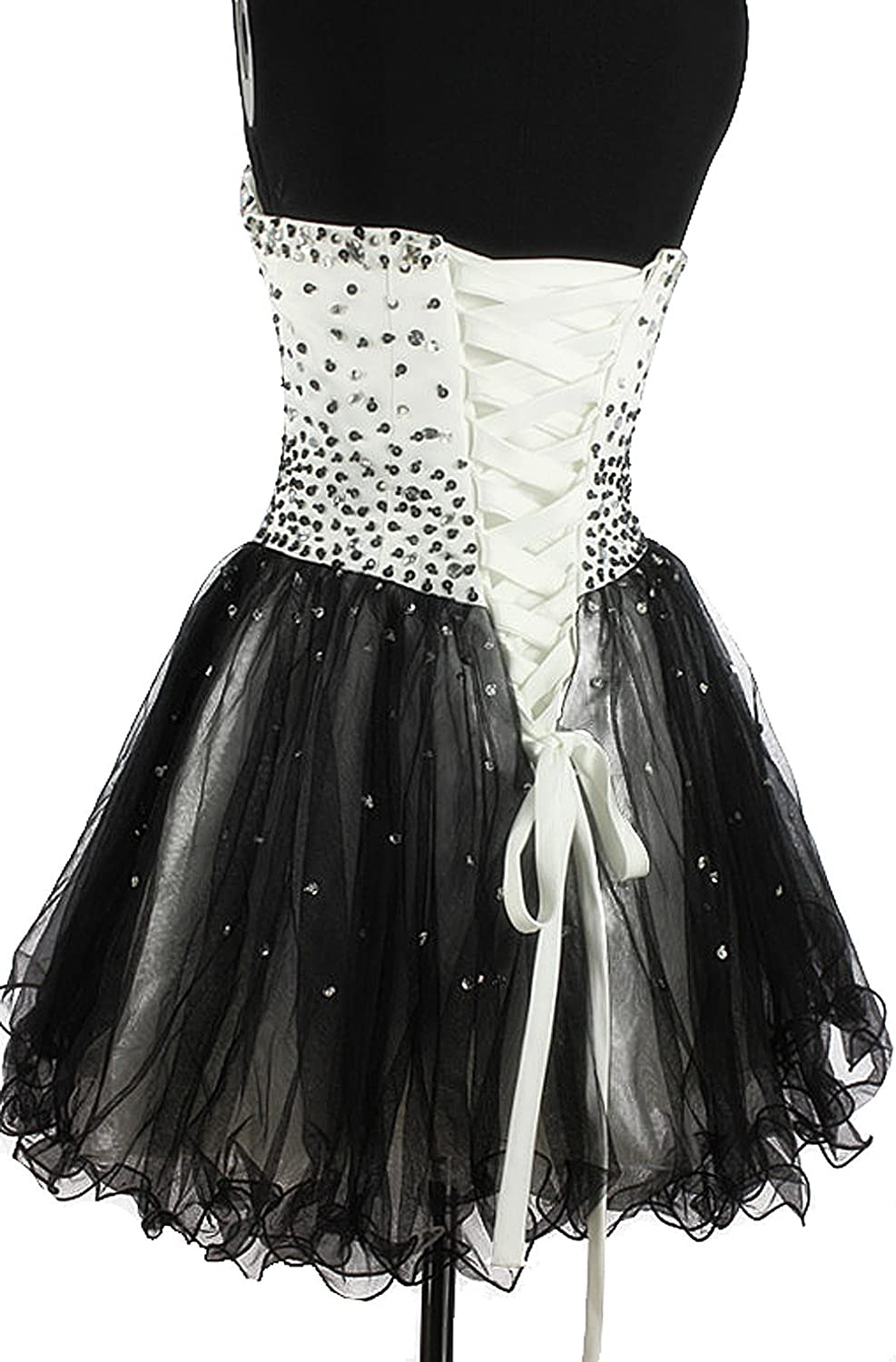 CharmingBridal Beaded Strapless Short Mini Prom Dress Cocktail Party Ball Gown