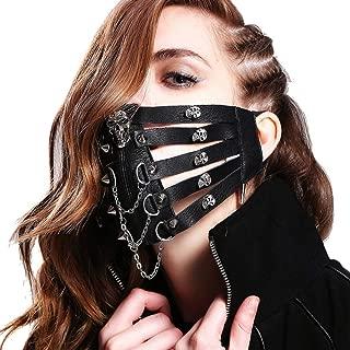 Men Women Steam Punk Skeleton Mask Gothic Halloween Party Rivet Leather Mask