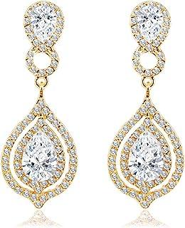 BiBeary Damen Kristall Art Deco Braut Anhänger Ohrhänger Ohrringe
