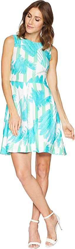Palm Print Fit and Flare Dress