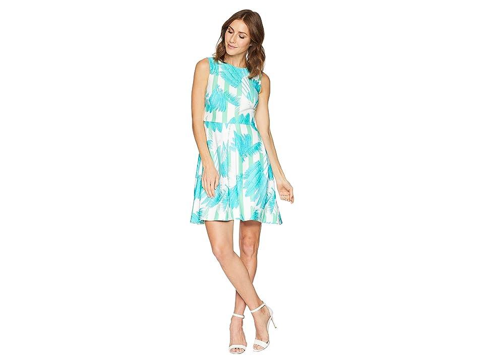 Taylor Palm Print Fit and Flare Dress (Seafoam) Women