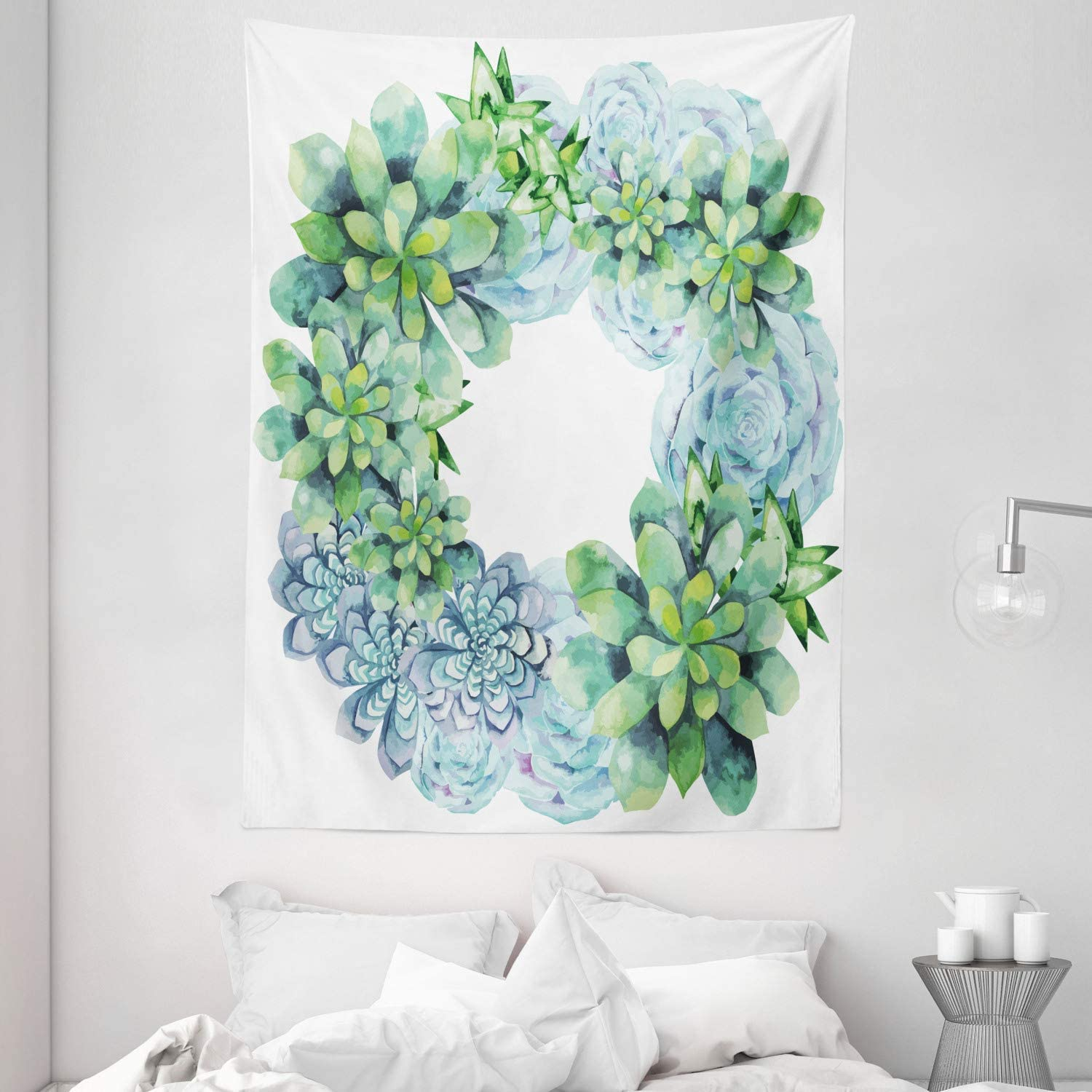 Max 69% OFF Ambesonne Finally resale start Succulent Tapestry Wreath Watercolor Circul
