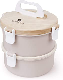 Stainless Steel Bento Lunch Box|Stackable Compartment White & Bamboo Design Bento Box | 2-Tier Portable Insulated Lunch Box with Utensil(Pink)