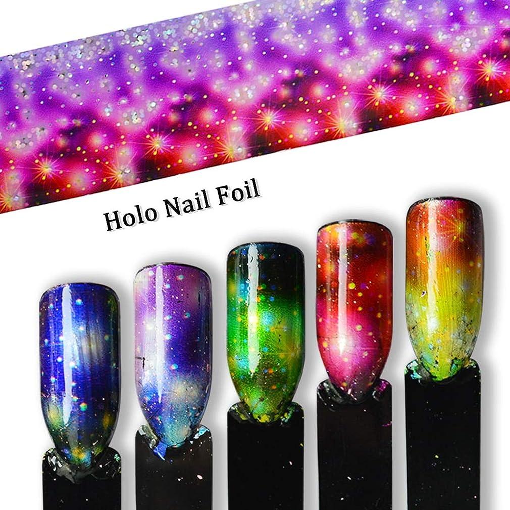 ホップ禁止するそれにもかかわらずグラデーション星空ネイル箔転写虹ホログラフィックチャームネイルアートデコレーションラップステッカー紙セット花のヒントSA448