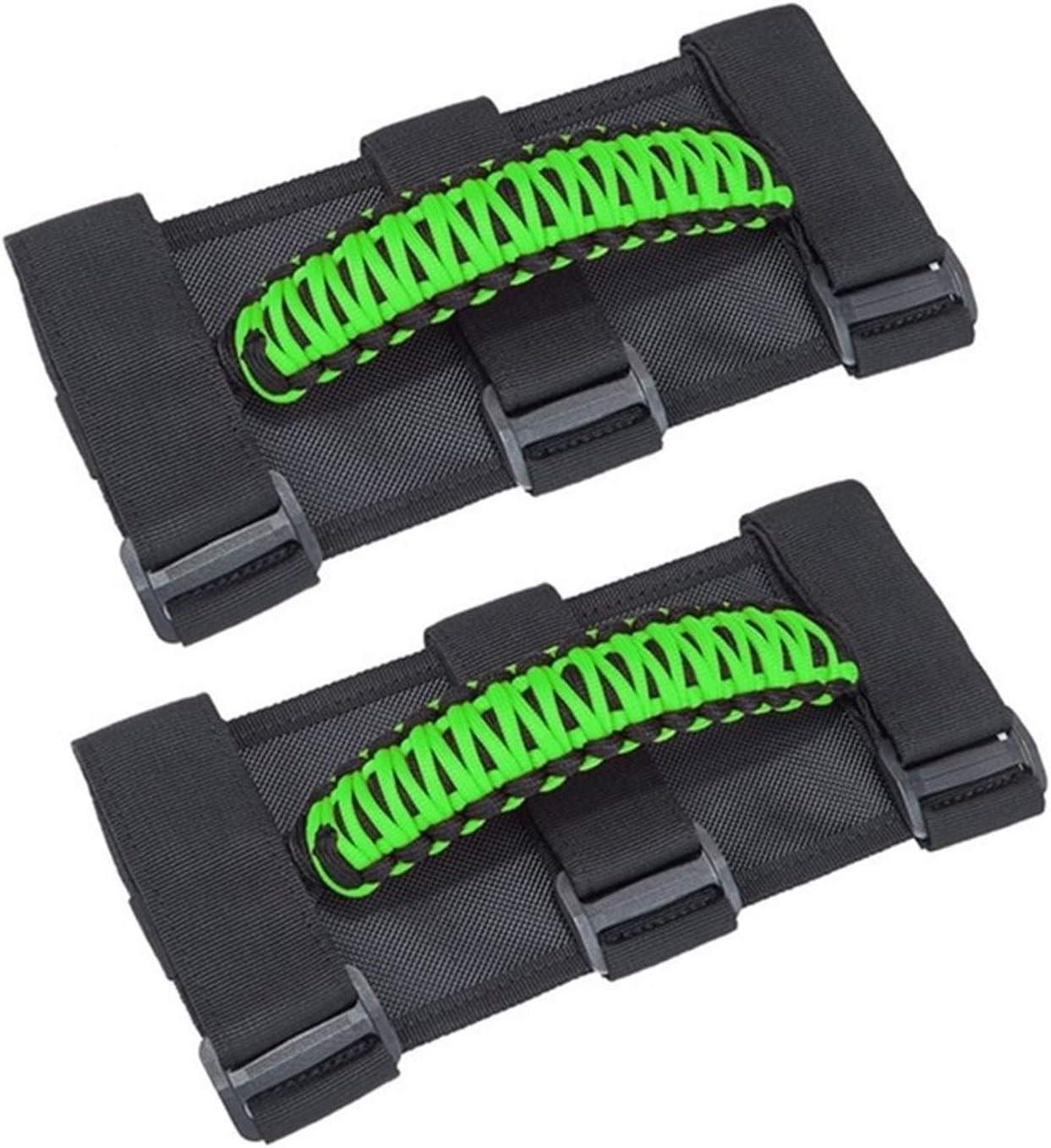 Color : Green VITKT 2pcs Door Grab Handle Fit For Jeep Wrangler JK JL YJ TJ 1987-2020 Roll Bar Hand Grip Non-slip Weaved Handle Car parts inner door handle