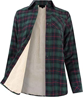 Women's Winter Flannel Plaid Button Down Top with Sherpa Fleece Lining