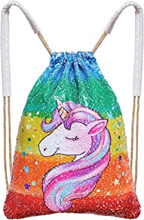Play Tailor Mermaid Sequin Bag, Reversible Sequins Drawstring Backpack Glittering Outdoor Sports Bag Dance Bag, Rainbow Ca...