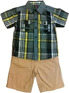 Enyce 男童 3 件套,尺寸 5/6,包括系扣衬衫、T 恤和卡其短裤、灰色和绿色格子图案