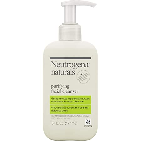 Neutrogena Naturals Purifying Daily Facial Cleanser with Natural Salicylic Acid from Willowbark Bionutrients, Hypoallergenic, Non-Comedogenic & Sulfate-, Paraben- & Phthalate-Free, 6 Fl Oz