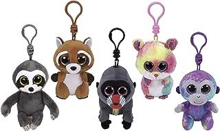 ReBL LLC TY Stuffed Animals Beanie Boo Clips Keychains Plush Toys Bundle Set Plus ONE Bonus Animal Puzzle Eraser (Wasabi's Buddies)