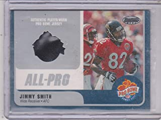 2000 Bowman's Best Jimmy Smith Jaguars Pro Bowl Game Used Jersey Insert Football Card #JS-WR