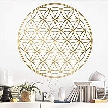 Grandora Muursticker bloem des levens I beige (BxH) 90 x 90 cm I slaapkamer woonkamer sticker sticker muursticker mandala-...